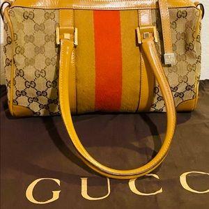 GG Canvas Vintage Gucci Boston Bag. Italy.